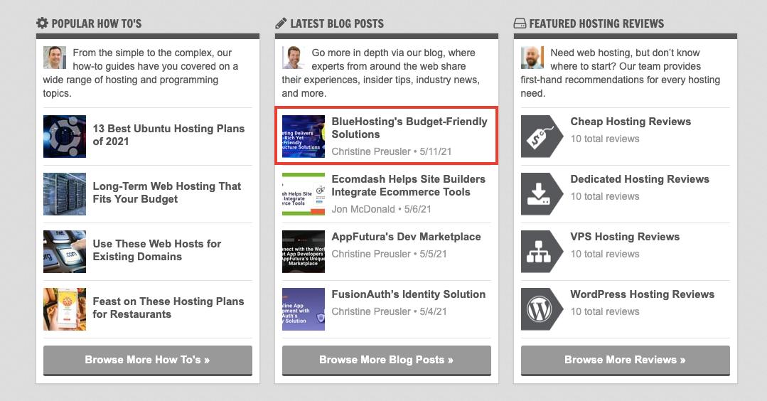 Busca el artículo de Bluehosting en los últimos posts de HostingAdvice.com