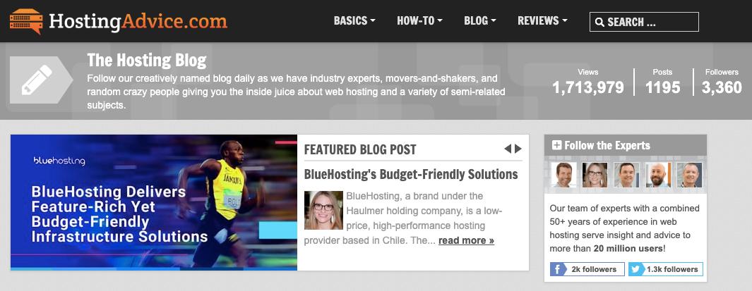 Características de Bluehosting destacadas en HostingAdvice.com